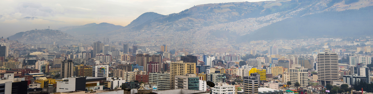 Panoramic of finance distric of Quito-Ecuador, at background the Panecillo hill in downtown.